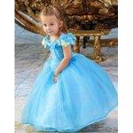ชุดราตรีเจ้าหญิง สีฟ้า size 110-150