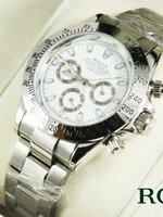นาฬิกา Rolex ระบบ Automatic ระบบจริงทั้งหมด หน้าปัดสีขาว สายเลสสีเงิน เรือนหน้าปัดขนาด 3.5 ซม.