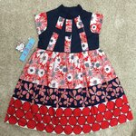 LKD-568 เสื้อผ้าเด็กขายส่ง (3 ชุดต่อแพค) ไซร์ 8y-10y-12y ชุดกระโปรงเด็ก สีกรมท่า/แดง