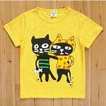 เสื้อยืดลายแมวสีเหลือง พร้อมส่ง ไซด์ 90-130