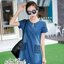 Korean lady love denim jeans short sleeve dress by Aris Code A181-75C01 thumbnail 4