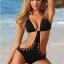 SM-V1-373 ชุดว่ายน้ำวันพีช สีดำ ลายผ้าฉลุสวย เว้าหลังลึก thumbnail 1