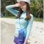 SM-V1-537 ชุดว่ายน้ำแขนยาว เสื้อสีเขียว สกรีนอักษร Shark กางเกงขาสั้นสีม่วง thumbnail 10