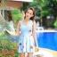 SM-V1-397 ชุดว่ายน้ำทรงชุดแซก สีฟ้าสวยลายน่ารัก เซ็ต 2 ชิ้น ชุดแซก+บิกินี่ thumbnail 1