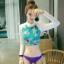 SM-V1-419 ชุดว่ายน้ำแขนยาว+บิกินี่สีม่วง เสื้อพื้นเขียวลายดอกไม้สวย thumbnail 4