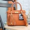 กระเป๋าถือ/สะพาย หนังแกะสวยมากคะ แท้พร้อมส่ง สี D.orange KEEP sheep leather office hand bag with frink key สวย น่ารัก #KEEPBAGแท้
