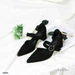 รองเท้าคัทชู ส้นสูง หนังสักหราด คาดสายแต่งเข็มขัดสวยเก๋ หนังนิ่ม ทรงสวย ส้นสูงประมาณ 3 นิ้ว ใส่สบาย แมทสวยได้ทุกชุด (G5262)