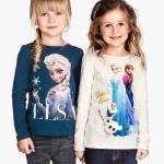 H&M : เสื้อยืดแขนยาว ลาย Elsa (ชนช้อป) สีน้ำเงินเข้ม Size 1-2y / 4-6y / 10-12y / 12-14y