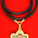 สร้อยยางโอริงข้อทองคำแท้ขัดเงา 90% แขวนพระ 1 องค์