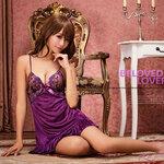san520 ชุดนอนวาบหวิวสีม่วง ชุดนอนผ้าลื่น สีม่วง อก ปักลูกไม้ สวยหวานน่ารัก