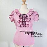 เสื้อ ผ้าสเปนเด็กซ์ แต่งอกระบาย สีชมพูเข้ม อก 42 นิ้ว