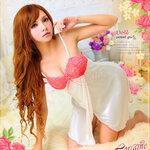 san419 ชุดนอนวาบหวิว ชุดนอนผ้าลื่น สีขาว เปิดหน้า กุ้น สีชมพู ด้านอกเป็นลูกไม้ สีชมพูสวยหวาน น่ารัก
