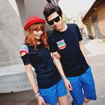 ชุดคู่รัก เสื้อคู่รักเกาหลี เสื้อผ้าแฟชั่น ชายเสื้อยืดสีดำมีกระเป๋าเสื้อสีรุ้ง + หญิงเสื้อยืดแขนสั้สีดำ แต่งแขนสีรุ้ง +พร้อมส่ง+