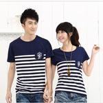 +พร้อมส่ง+ เสื้อคู่รักเกาหลี แฟชั่นคู่รัก ชายหญิง เสื้อยืดคอกลม แต่งลายสีกรมขาว