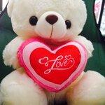 """ตุ๊กตาหมีบอกรัก ตุ๊กตาหมีกอดหัวใจปักคำว่า """"Love"""" ขนาด 40 เซนติเมตร สีขาว"""