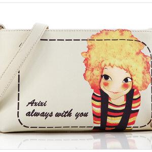 กระเป๋าแฟชั่นวัยรุ่น หนัง pu แบรนด์ axixi สีขาวลายกาตูน