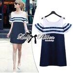 Lady Isla Glam Chic Navy Blue Striped Dress เดรสเว้าไหล่ลายทางกระโปรงสีกรม