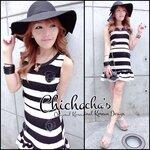 2Tone Striped Dress with 3D Rose เดสลายทูแทนแต่งดอกไม้ สีขาวดำ