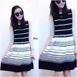 Stripe Knit Dress   เดรสไหมพรมแขนกุดลายริ้วเล่นระดับ สีดำ