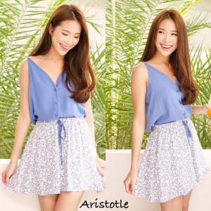 Blue & Floral skirt set เซทเสื้อ+กระโปรงพิมพ์ลายดอกไม้