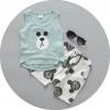 ชุดเซตเสื้อลายหมีสีเขียวอมฟ้า+กางเกง