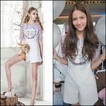 Kayasis Fox and Flower Print Playsuit in White Size M : เพลย์สูทสีขาวพิมพ์ลายจิ้งจอก ขนาด M