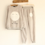 [Pre-order] MM2896 ชุดเซ็ต 2 ชิ้น เสื้อ+กางเกง กันหนาวลายนกฮูก ขนฟู งานน่ารักค่ะ Owl Set