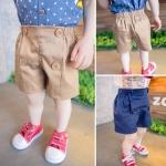 กางเกงขาสั้นแต่งกระดุมสีน้ำตาล