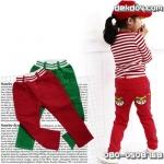 กางเกงผ้ากำมะหยี่สีแดง ปักแมวที่กระเป๋าหลัง