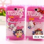 Case Samsung Galaxy Note 2 TPU ซอง Fujiya Peko ลายเด็กหญิงกับมิกกี้ สติช มินนี่ มายเมโลดี้ เคสมือถือ ขายส่ง ราคาถูก