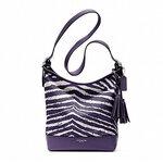 Coach Legacy Zebra Print Zip Duffle Bag 23410 Marine Purple White ส่งออกทุกวันศูกร์ 7 วันถึงไทยค่ะ