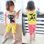 ชุดเซ็ตลายแมวเสื้อสีชมพู