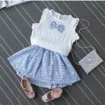 เสื้อ+กระโปรง สีฟ้า แพ็ค 5ชุด ไซส์ 7-9-11-13-15
