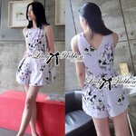 Lady Elie Sweet Candy Pastel Floral Print Jumpsuit Size M : จั๊มพ์สูทพิมพ์ลายดอกไม้สีม่วงพาสเทล ขนาด M