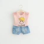 ชุดเซตเสื้อลายหน้ายิ้มสีชมพู+กางเกงยีนส์