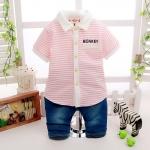 ชุดเซตเสื้อลายทางสีชมพู MONKEY+กางเกง