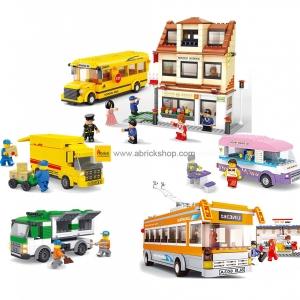ขนส่ง (Transport) S-set 1. ตัวต่อเลโก้จีน ชุดหลังเลิกเรียน (ชุด 5 กล่อง)