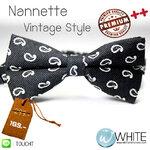 Nannette - หูกระต่าย ลาย Abtrack โทนสีดำ ลายขาว ผ้าพิมพ์ลาย สไตล์วินเทจ Premium Quality++ (BT782) by WhiteMKT