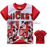 [Preorder] เสื้อยืดเด็กแฟชั่นคอกลมแขนสั้น ลาย Mickey Mouse สีขาวแดง (6 ตัว/แพ็ค) FX1389073 scarlet cotton short-sleeved red Mickey Mouse printed cotton short-sleeved date single cartoons
