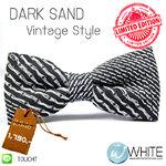 DARK SAND : หูกระต่าย ผ้านอก ลายเฉียง โทน ขาว ดำ Vintage Style Limited Edition (BT248) by WhiteMKT