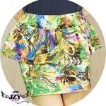 กระโปรงทำงานแฟชั่น Colormix A-Skirt ลายสีผสมโทนเขียว