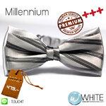 Millennium - หูกระต่าย ผ้านอก สีเทา ลายเฉียง Premium Quality+++ (BT260A) by WhiteMKT
