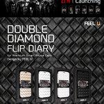 Feel U : Awesome!! Fashion Double Diamono Flip Diary For Samsung Galaxy S4, S IV, i9500