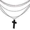 Classic Many Metal Chains Necklece with Black Cross Wood