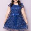 (Size L,XL,2XL,3XL,4XL) ชุดเดรสไปงานแต่งงานสีน้ำเงิน ชุดเดรสออกงาน เดรสคนอ้วน เดรสไซน์ใหญ่ ชุดเดรสไปงานสาวอวบ ผ้าลูกไม้เนื้อดีเดินเส้นเลื่อมมีประกายสีทองสวยหรู บุซับในอย่างดีสีแดง ติดซิปซ่อนด้านข้าง มาพร้อมผ้าคาดเอวค่ะ