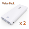 [Value Pack 1+1]Aukey Dual-USB Powerbank 20,000 mAh with AIPower (White - ขาว) [PB-N15] ** Promotion Free EMS **