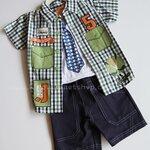 Qkidscent เสื้้อเชิ้ต+กล้ามพิมพ์+กางเกงหน้าร้อน ขนาด 12M, 18M, 24M ใส่ได้ถึง 3-4ปี