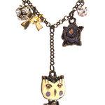 Vintage Fashion Metal Necklece, Owl, Bow, Flower Synthetic Diamond