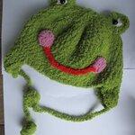 หมวกไหมขนแกะ กบสีเขียวอ่อน รอบหัว 52 ซม.