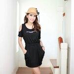 chic spandex dress เดรสผ้ายืดตัวสั้น เว้าไหล่ แบบเก๋ไก๋ มีสีเทาและสีดำ ค่ะ